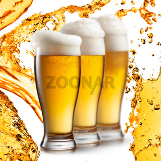 Beer in glasses isolated on white background