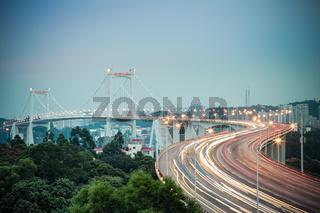 beautiful xiamen haicang bridge in nightfall