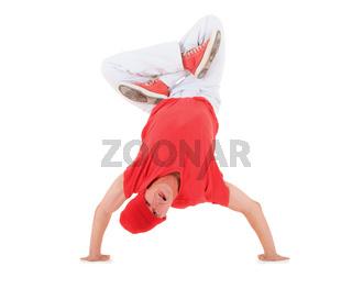 Teenager dancing breakdance in action