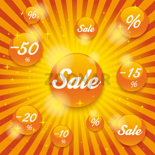 Orange Sale Buttons Retro Background