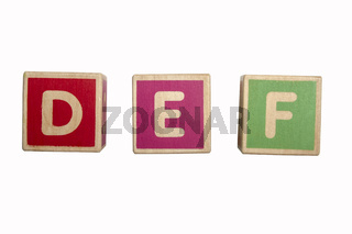 Alphabet blocks DEF