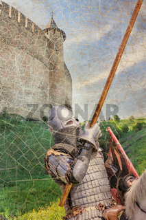 Armored knight on warhorse over old medieval castle (fortress)