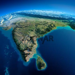 Detailed Earth. India and Sri Lanka