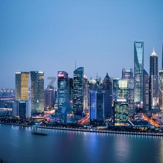 shanghai financial district in nightfall