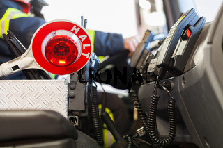 Innenansicht eines Feuerwagen
