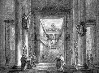 The interior of the Temple of Jupiter Optimus Maximus, Rome, Lazio, Italy