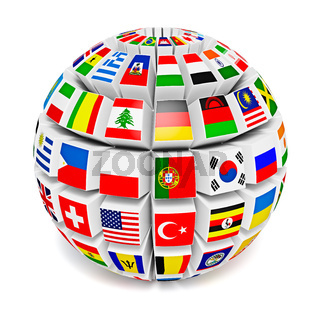 Globe sphere with flags of the world