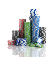 Stacks of poker chips.