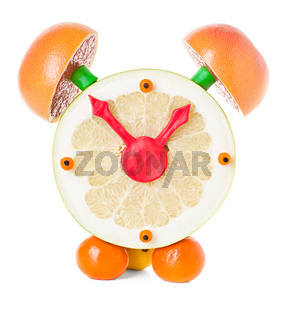 fruit and citrus volume clock isolated on a white background