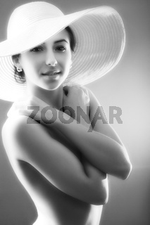 girl in straw hat vintage