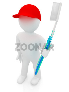 3d man with toothbrush