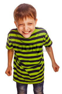 young teenage boy in green t-shirt fun carefree laugh isolated o