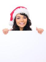 Young Female Teen Santa Hat Behind White Board