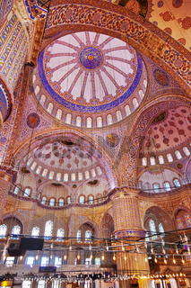 Blue mosque interior in Istanbul Turkey
