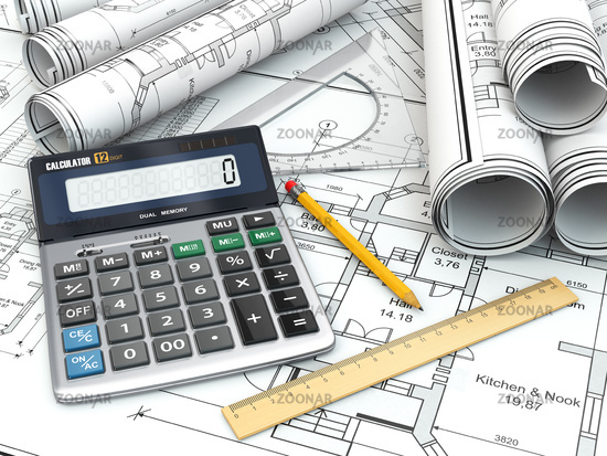 Concept of drawing. Blueprints, drafting tools and calculator.