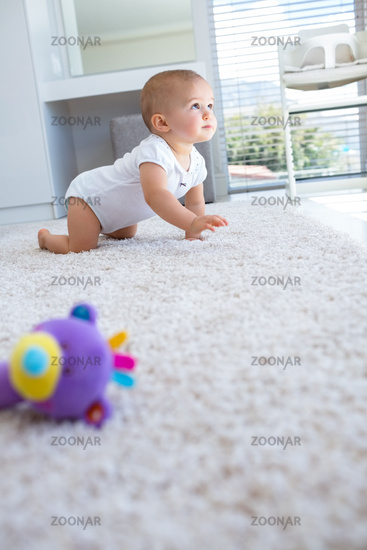 Side view of a baby crawling on carpet