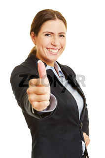 Geschäftsfrau hält ihren Daumen hoch