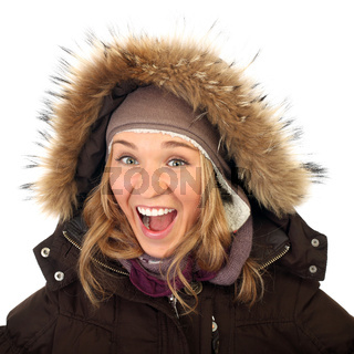 Close up portrait of one happy frozen  woman in winter coat