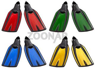 Set of multicolored swimfins
