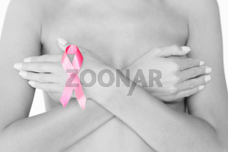naked woman with breast cancer awareness ribbon