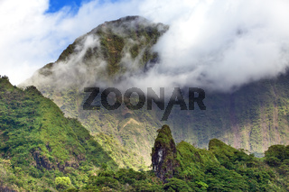 Tahiti. Polynesia. Clouds over a mountain landscape
