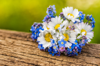 Bouquet with daisies and forget-me-not