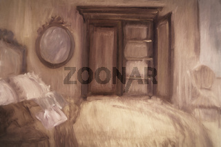 Oil painting of a bedroom, digitally altered
