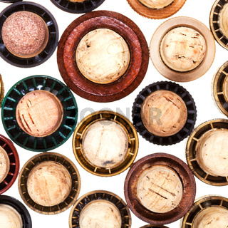 top view of many corks from strong drinks