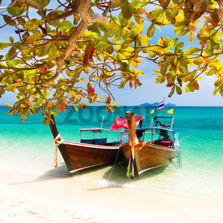 Wooden boats on a tropical beach.