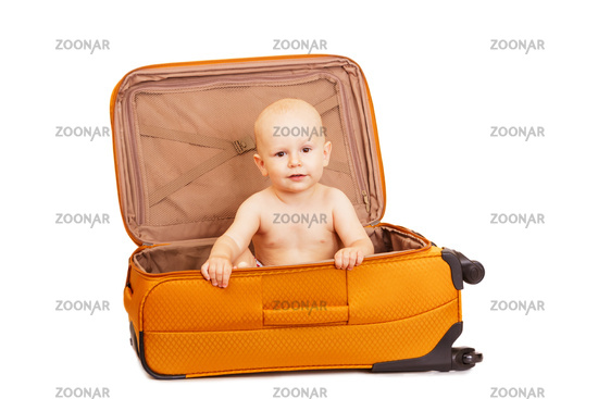 The small child in suitcase for long trips.