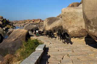 Ancient road in Hampi, Karnataka, India