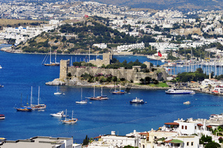 View of Bodrum harbor during hot summer day