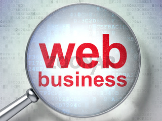 SEO web design concept: Web Business with optical glass