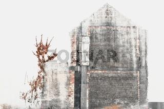 abgebildet an der Wand-das alte Haus