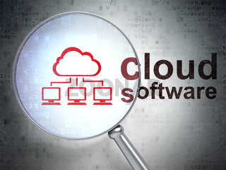 Cloud technology concept: Cloud Network and Cloud Software with optical glass