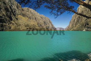 Turquoise lagoon in Huascaran national park in Peru