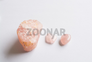 Three Rose Quartz stones