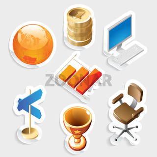 Sticker icon set for business and money