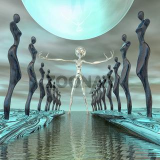 Alien begrüsst die Welt