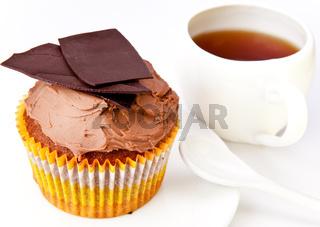 Chocolate fruitcake and cup of tea