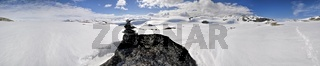 Scenic panorama of snowy landscape near Trolltunga in Norway