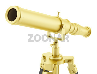 golden telescope on tripod isolated on white background