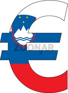 euro with flag of slovenia