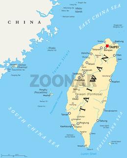 Taiwan, Republik China, politische Landkarte