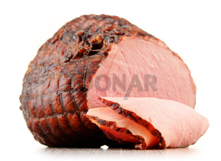 Piece of ham isolated on white background. Meatworks product