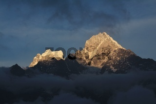 Mt Thamserku at sunset, view from Khumjung