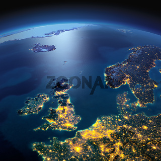 Detailed Earth. United Kingdom and the North Sea on a moonlit night