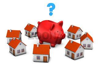 Red Piggy Bank Question Mark Houses