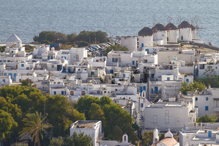 Mykonos Greece with Its Famous Four Windmills