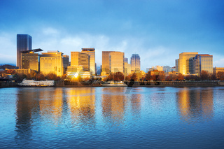 water,cityscape and skyline of portland in blue sky